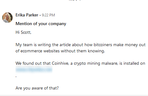 [Investigation] Business Owners Do Not Care about Mining Malware Until They Find It on Their Websites