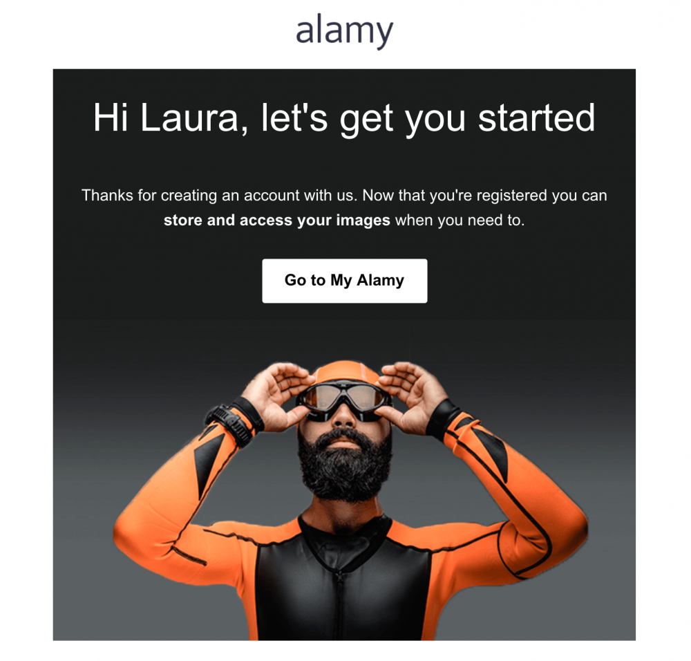 Image of email showing one clear CTA to My Alamy Account