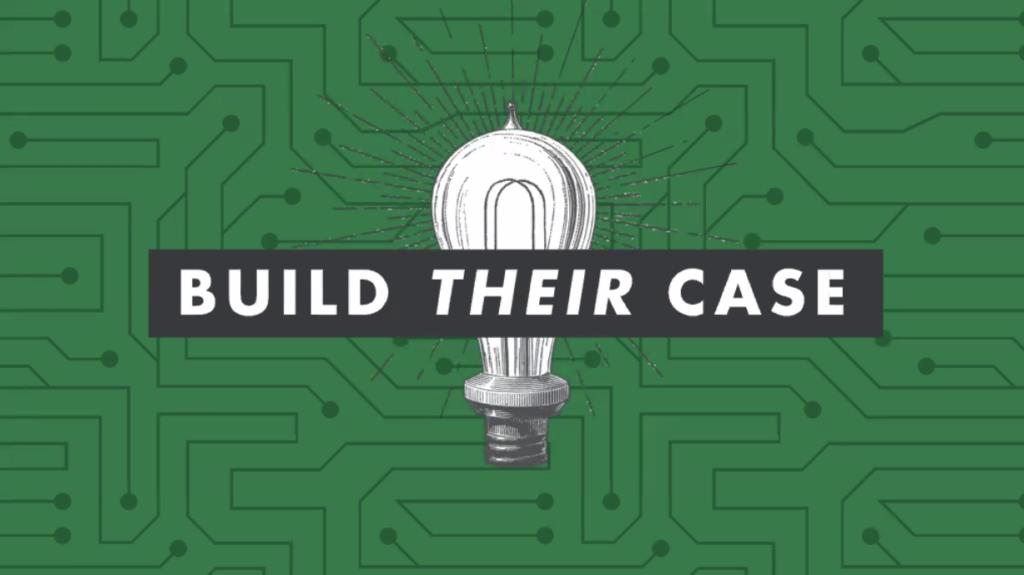 Tamsen Webster keynote slide says build their case