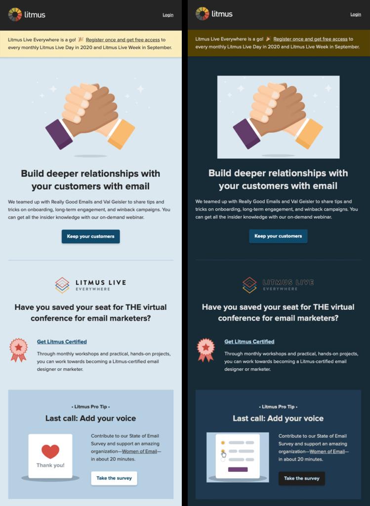 Litmus light mode email vs. dark mode email partial color invert example