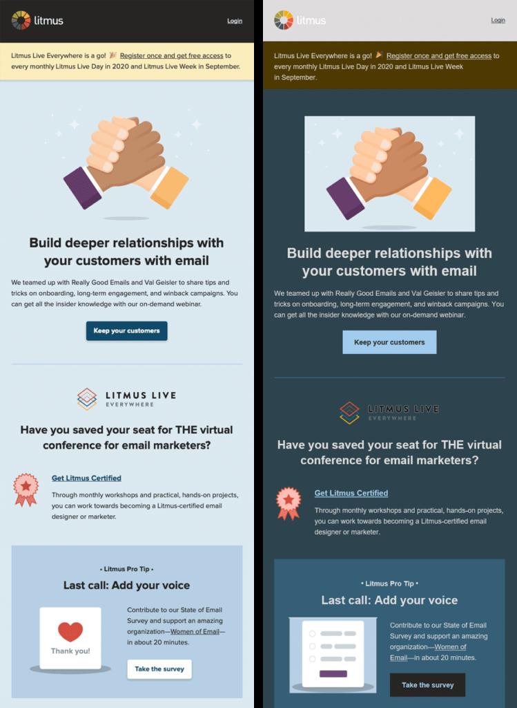Litmus light mode email vs. dark mode email full color invert example