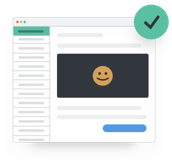 email inbox with happy face and checkmark