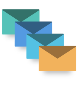 4 envelopes in different colors