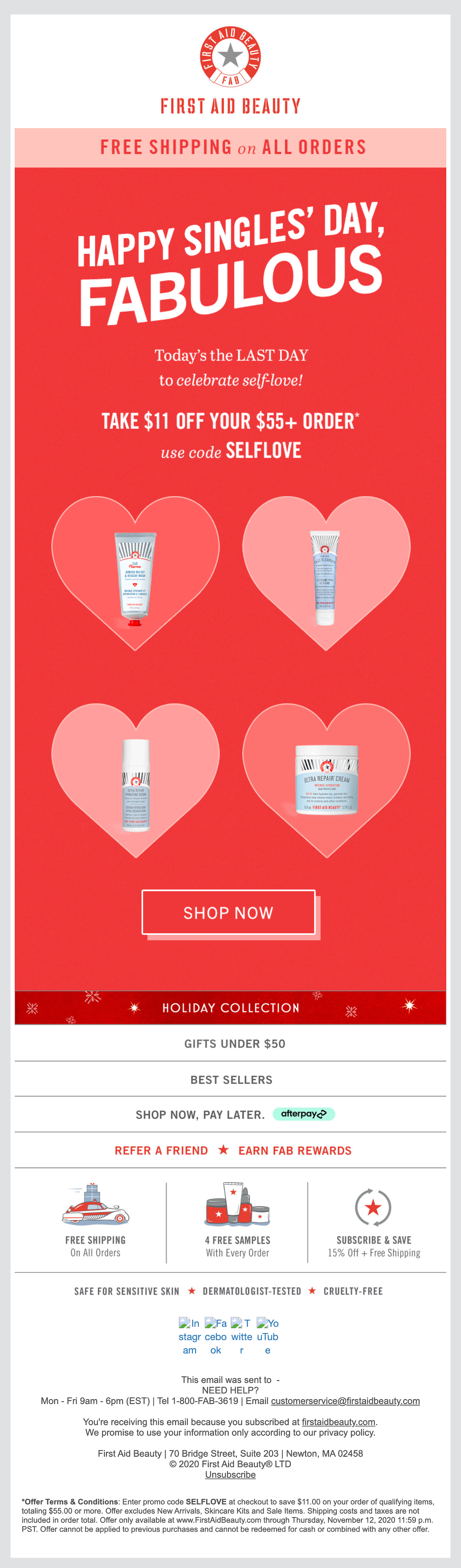 First Aid Beauty Singles' Day email