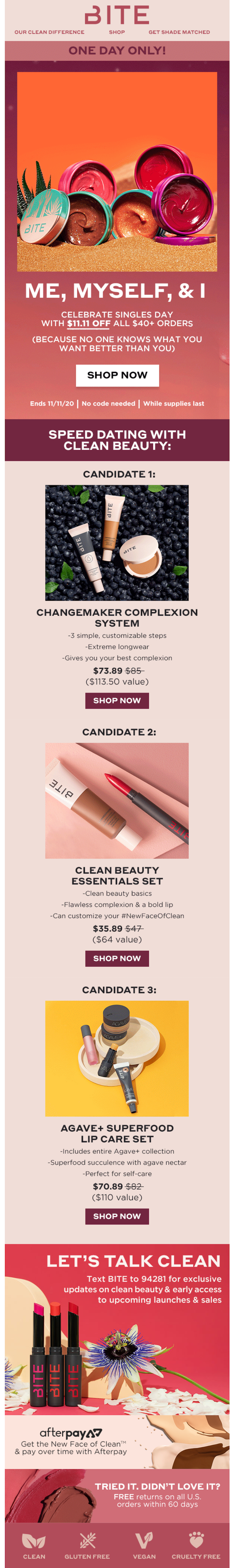 bite beauty singles day email