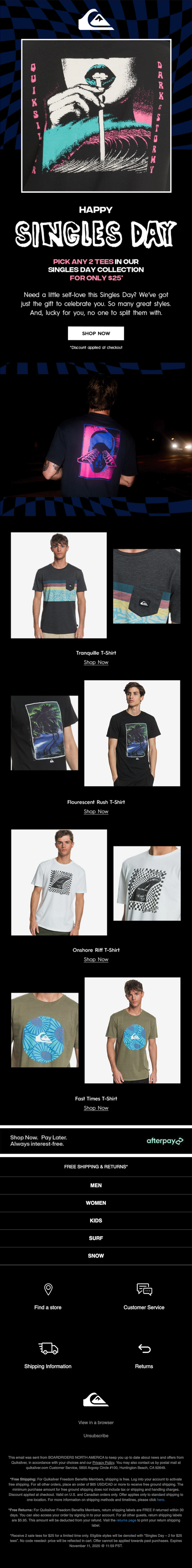 quiksilver singles day email